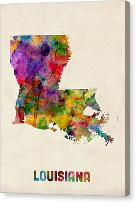 Louisiana Watercolor Map Canvas Print by Michael Tompsett