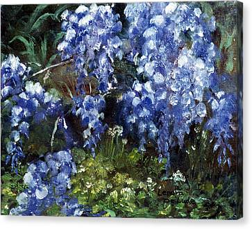 Canvas Print featuring the painting Louisiana Wisteria by Lenora  De Lude