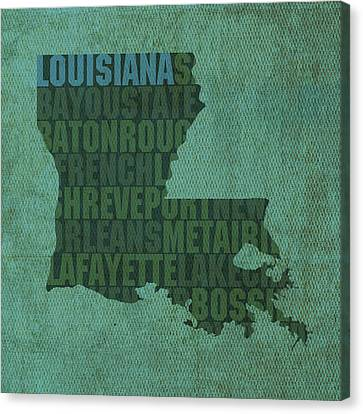Louisiana Word Art State Map On Canvas Canvas Print by Design Turnpike
