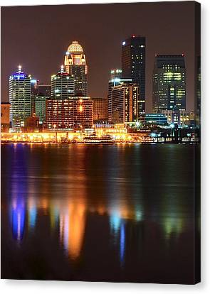 Manhatten Canvas Print - Louisville At Night  by Frozen in Time Fine Art Photography