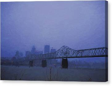 Kentucky Wildcats Canvas Print - Louisville Kentucky Skyline Digital Painting by David Haskett