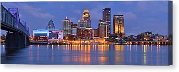 Evening Scenes Canvas Print - Louisville Skyline At Dusk Sunset Panorama Kentucky by Jon Holiday
