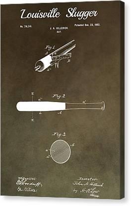 Bat Canvas Print - Louisville Slugger Patent by Dan Sproul