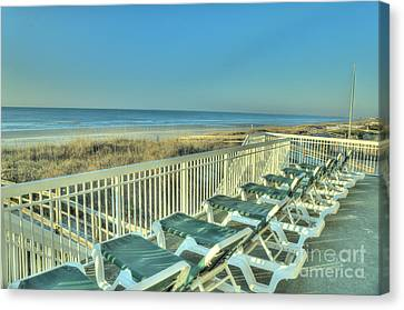 Lounge Chairs Overlooking Beach Canvas Print