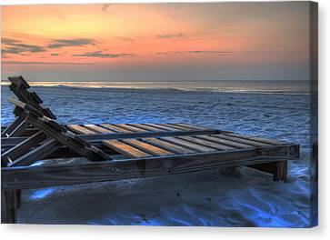 Lounge Closeup On Beach ... Canvas Print by Michael Thomas