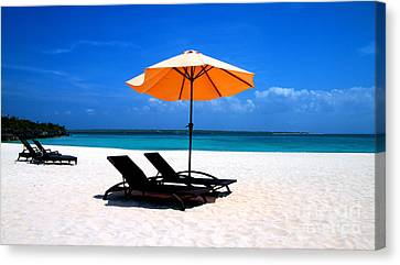Canvas Print featuring the photograph Lounging By The Sea by Joey Agbayani