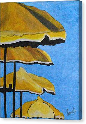 Lounging Under The Umbrellas On A Bright Sunny Day Canvas Print by Sonali Kukreja