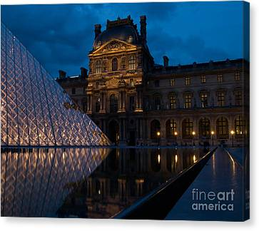 Louve At Night Canvas Print by Keith Pinn