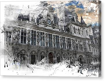Louvre In A Splash Canvas Print by Evie Carrier