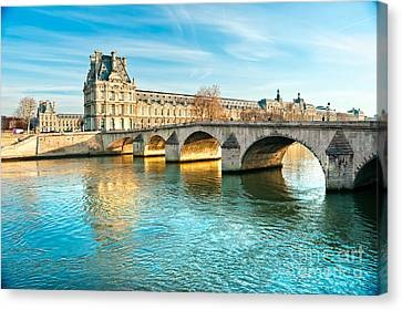 Louvre Museum And Pont Royal - Paris  Canvas Print