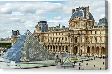 Louvre Pyramids And Buildings Canvas Print