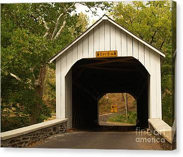 Loux Bridge And Sharp Left - Bucks County  Canvas Print by Anna Lisa Yoder