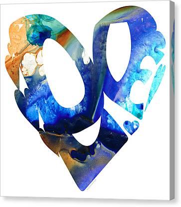 Love 4 - Heart Hearts Romantic Art Canvas Print by Sharon Cummings