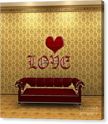 Love And Deep Red Sofa In A Gold Victorian Room Canvas Print by Beverly Claire Kaiya