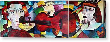 Canvas Print featuring the painting Love And Music Triptych by Dorothy Maier