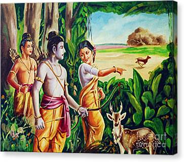 Canvas Print featuring the painting Love And Valour- Ramayana- The Divine Saga by Ragunath Venkatraman