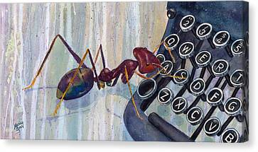 Ant Canvas Print - A Is For Ant by Marie Stone Van Vuuren