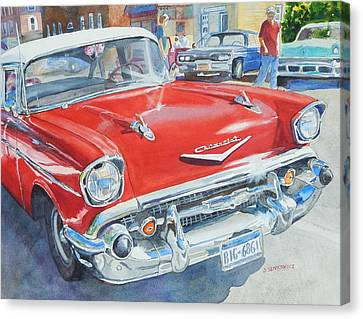 57 Chevy Canvas Print - Love At First Sight by Joan Senkowicz