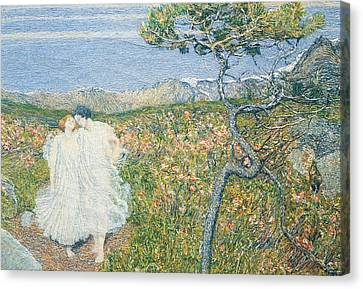 Love At The Fountain Of Life Or Lovers At The Sources Of Life Canvas Print by Giovanni Segantini