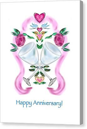 Canvas Print featuring the digital art Love Birds Anniversary by Christine Fournier