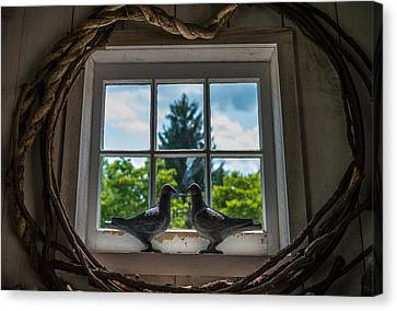 Barn Windows Canvas Print - Love Birds by Kristopher Schoenleber