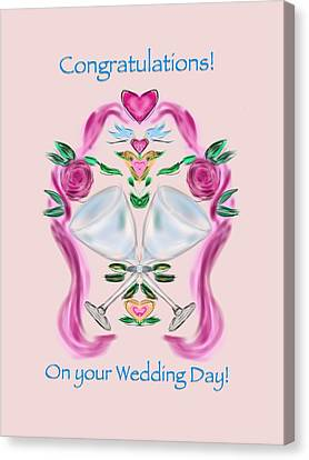 Canvas Print featuring the digital art Love Birds Pink Wedding by Christine Fournier