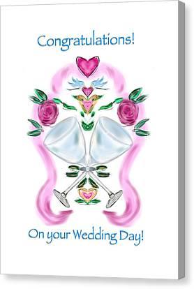 Canvas Print featuring the digital art Love Birds White Wedding by Christine Fournier