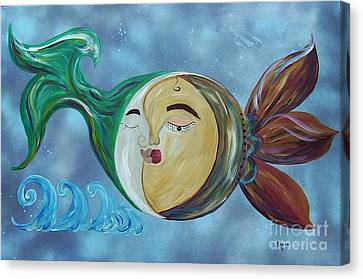 Canvas Print featuring the painting Love Connect - You Are My Moon And Sun by Eloise Schneider