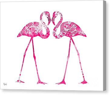 Love Flamingos Canvas Print by Watercolor Girl