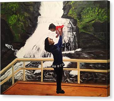 Canvas Print featuring the painting Love Flows Like The Waterfalls by Brindha Naveen
