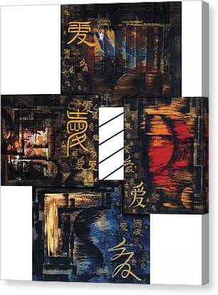 Canvas Print featuring the painting Love Four Seasons by Fei A