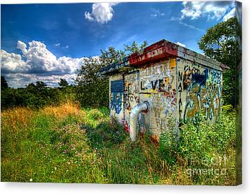 Red School House Canvas Print - Love Graffiti Covered Building In Field by Amy Cicconi