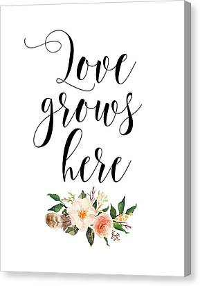 Love Grows Here Floral Canvas Print