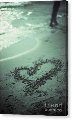 Love Heart Drawn On Beach Sand At Low Tide With Ocean Sea Canvas Print by Edward Olive