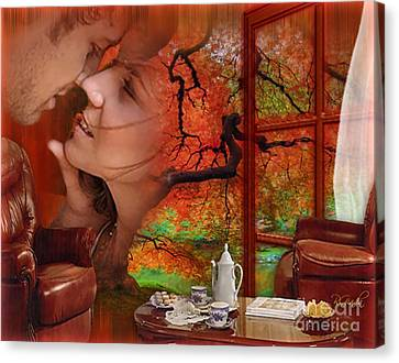 Canvas Print featuring the digital art Love In Autumn - Digital Art By Giada Rossi by Giada Rossi