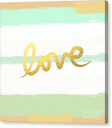 Love In Mint And Gold Canvas Print by Linda Woods