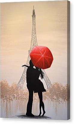 Canvas Print featuring the painting Love In Paris by Amy Giacomelli