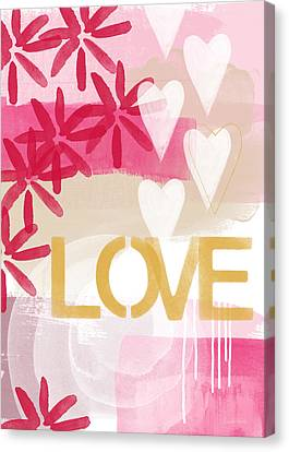 Love In Pink And Gold Canvas Print by Linda Woods