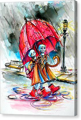 Canvas Print featuring the painting Love In The Rain by Heather Calderon