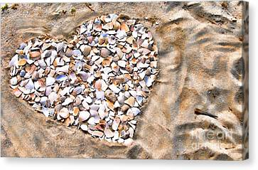 Love In The Sand Canvas Print by Colleen Kammerer