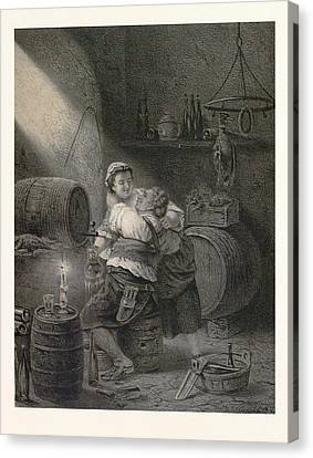 Love In The Winecellar, Barrel, Wine, Man, Woman, Male Canvas Print by English School