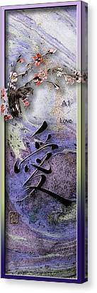 Love Ink Brush Calligraphy Canvas Print by Peter v Quenter