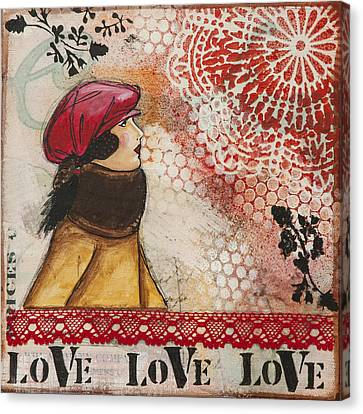 Love Inspirational Mixed Media Folk Art Canvas Print by Stanka Vukelic