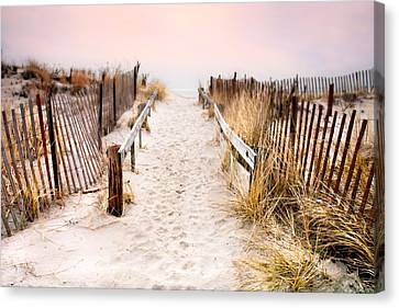 Love Is Everything - Footprints In The Sand Canvas Print by Gary Heller