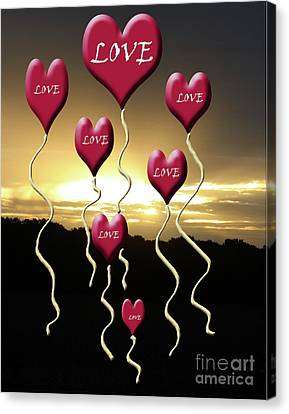 Love Is In The Air Golden Silhouette Canvas Print by Cathy  Beharriell
