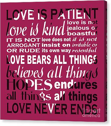 Love Is Patient - Heart Design Canvas Print by Ginny Gaura