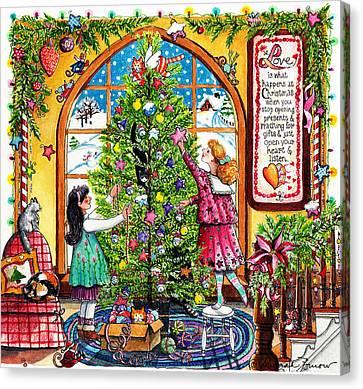 Love Is What Happens At Christmas Canvas Print by Deborah Burow