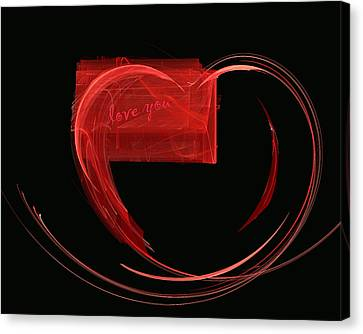 Love Letter Fine Fractal Art Canvas Print by Georgeta  Blanaru