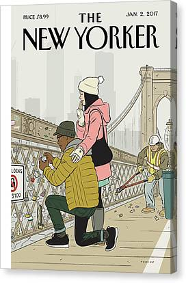 Workers Canvas Print - Love Locks by Adrian Tomine