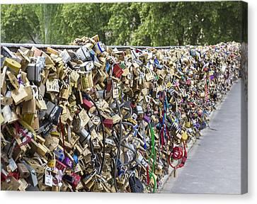 Love Locks In Paris Canvas Print by Georgia Fowler